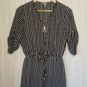Striped Tunic with Gold Zipper